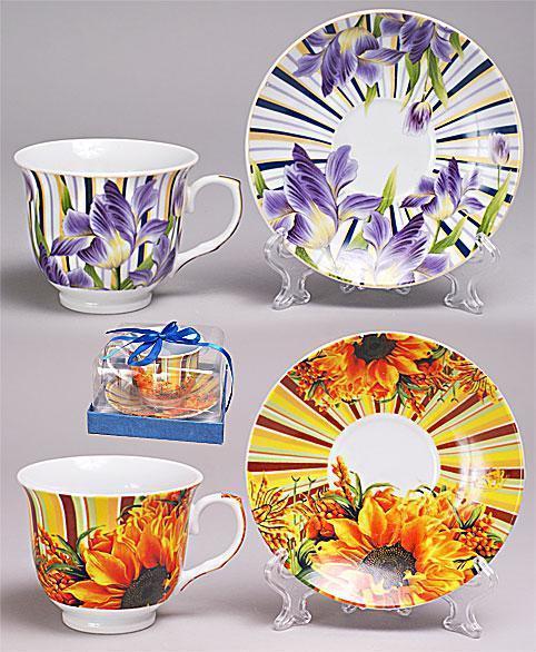 Набор чайная пара фарфоровый: чашка 240мл + блюдце, 2 вида Bonadi 387-C35