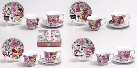 Чайный набор 12 предметов: 6 чашек 220мл + 6 блюдец, фарфор 318-79 Bona Di
