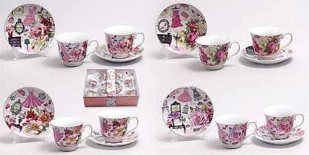 Чайный набор 12 предметов: 6 чашек 220мл + 6 блюдец, фарфор 318-79 Bona Di, фото 2