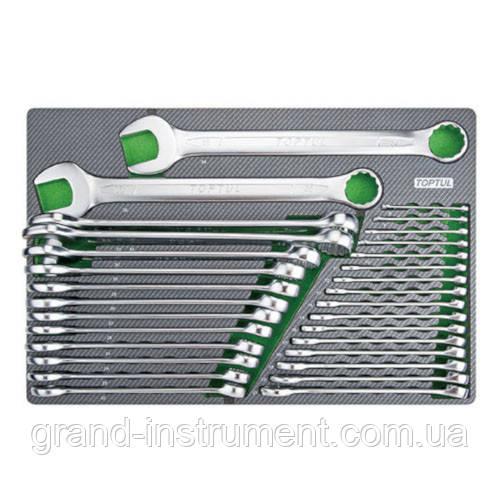 Набор ключей комбинированных 6-38мм 30ед. (в ложементе, тип D)  TOPTUL GED3025