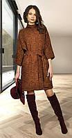 Пальто МиА Мода-727-13 белорусский трикотаж, коричневый, 48