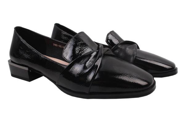 Туфли комфорт женские на низком ходу Molka лаковая натуральная кожа, цвет черный