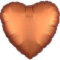 """Фольгированный шар Anagram Сердце 18"""" (46 см) янтарное сатин"""