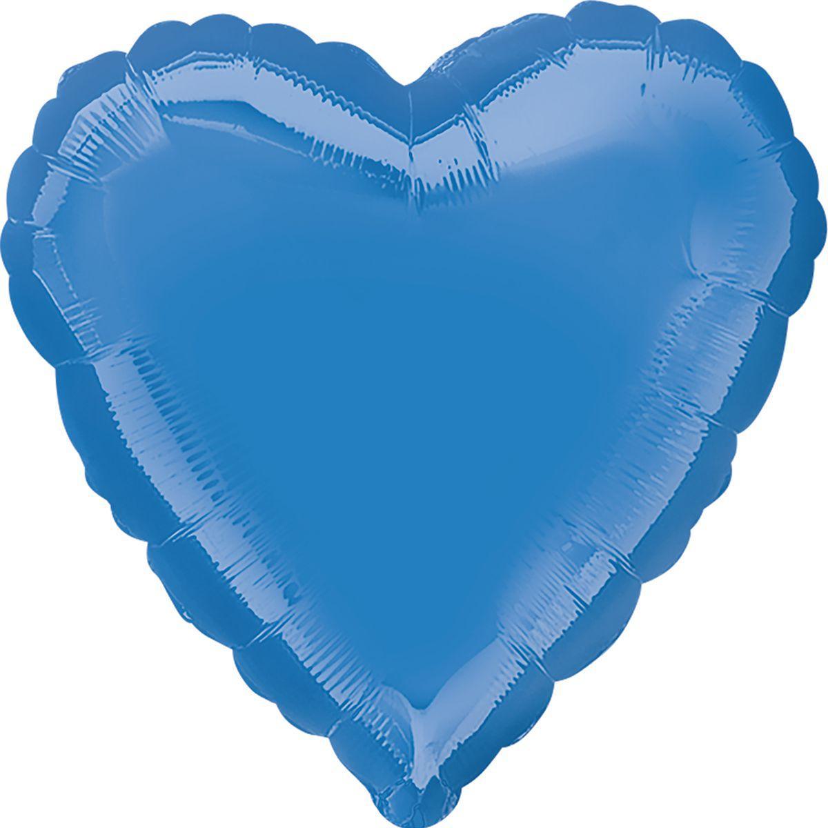 """Фольгированный шар Anagram Сердце 19"""" (48 см) синее металлик"""