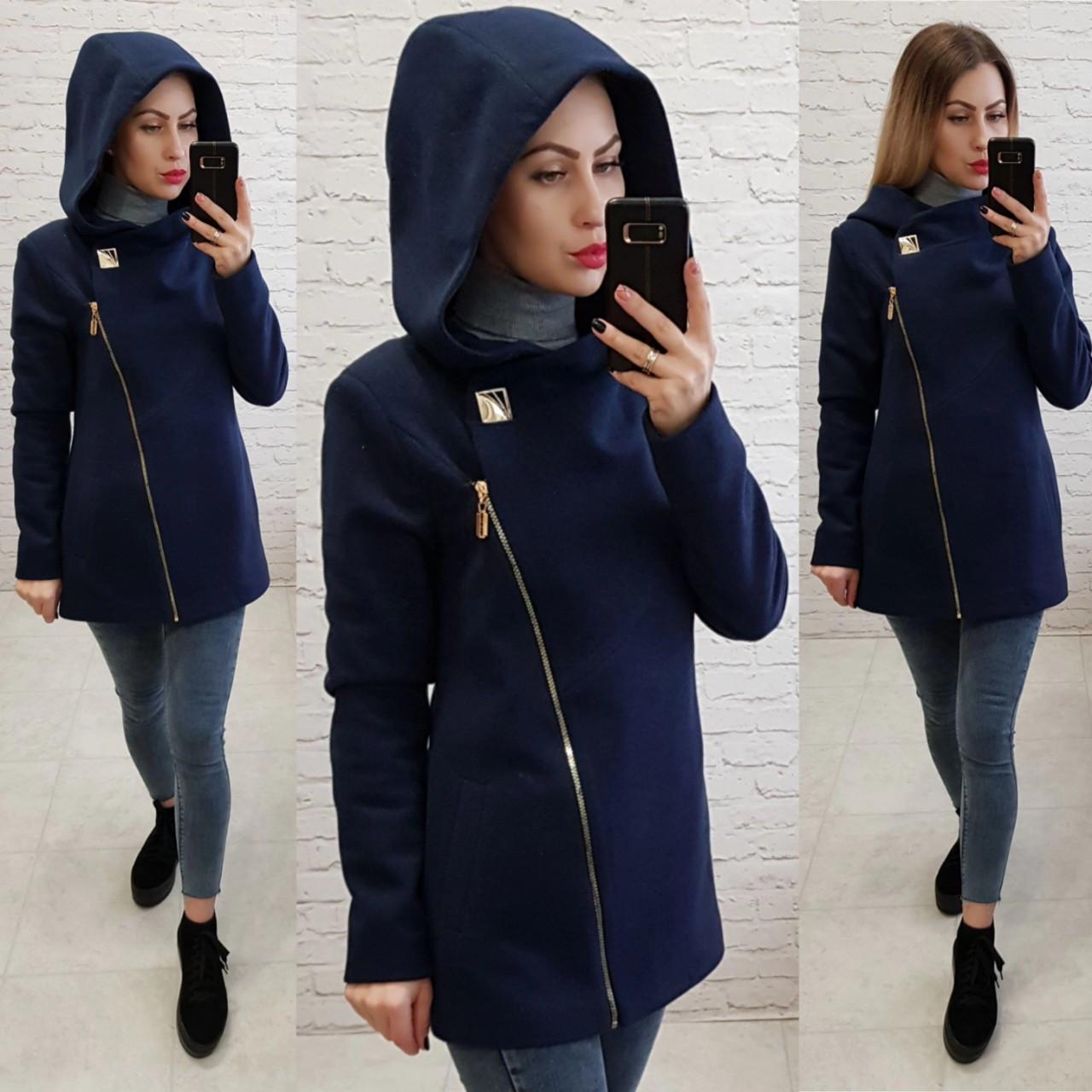 Короткое пальто женское с капюшоном, модель  156, синий