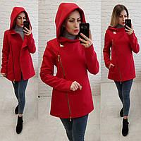 Короткое пальто женское с капюшоном, модель  156, красный, фото 1