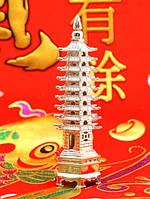 Фен-шуй Пагода 9 ярусов, в серебряном цвете (h=13 см.)