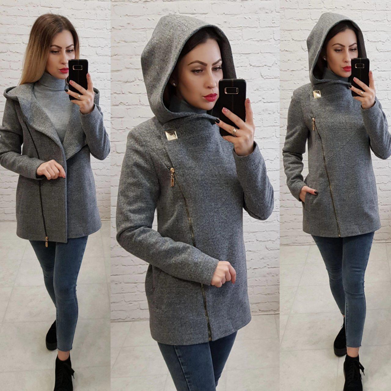 Короткое пальто женское с капюшоном, модель  156, серый