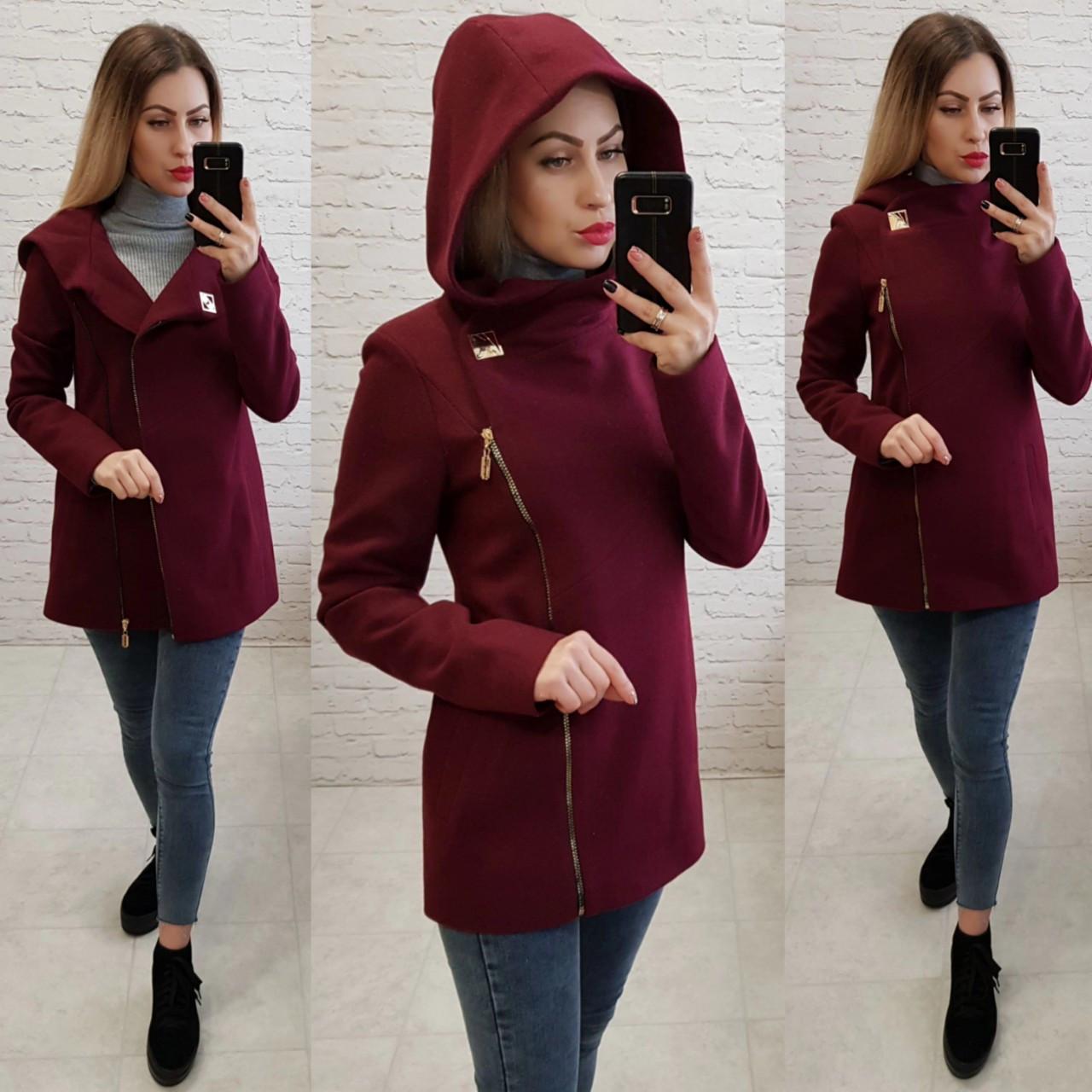 Короткое пальто женское с капюшоном, модель  156, марсала