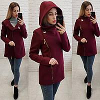 Короткое пальто женское с капюшоном, модель  156, марсала, фото 1