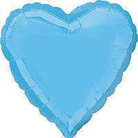 """Фольгированный шар Anagram Сердце 19"""" (48 см) бледно-голубое пастель"""