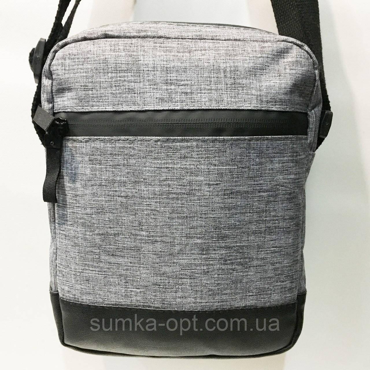 Спортивные барсетки без накатки со змейкой (серый)20*26см