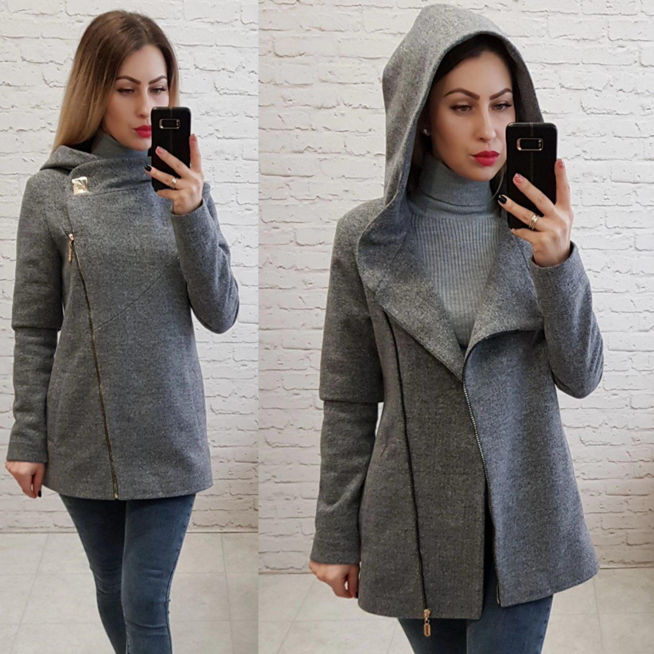 Пальто с капюшоном короткое арт. 156 с капюшоном серое / серый