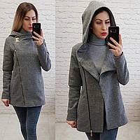 Пальто с капюшоном короткое арт. 156 с капюшоном серое / серый, фото 1
