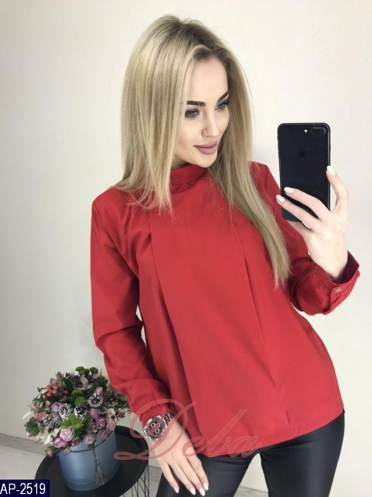 d915fd142e5 Женская красивая легкая однотонная блузка с длинным рукавом