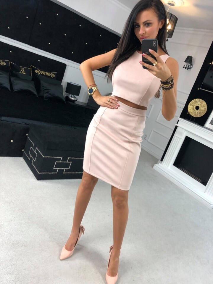 Женский стильный замшевый весенне-осенний с юбкой костюм: топ+ миди юбка (Замш на дайвинге) 2 цвета
