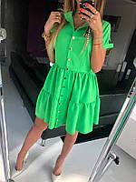 Женское однотонное стильное повседневное летнее мини платье с коротким рукавом (костюмка) 5 цветов, фото 1