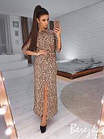 Платье рубашка женское модное длинное леопардовый принт с поясом Smb3033