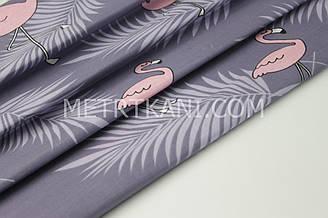 """Бязь постельная """"Розовое фламинго"""" на фиолетовом фоне  220 см 125г/кв.м №131851"""