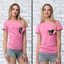 """Футболка женская """"Peecaboo"""" - цвет розовый"""