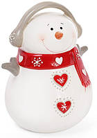 Новогодняя статуэтка-копилка Снеговик в красном шарфе 17 см (psg_BD-834-190)