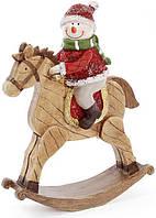 Статуэтка Снеговик на лошади 20.5х6.5х26 см (psg_BD-218-539)