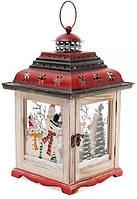 Новогодний фонарь-подсвечник Снеговики 21х21х34.5 см бежевый (psg_BD-808-013)