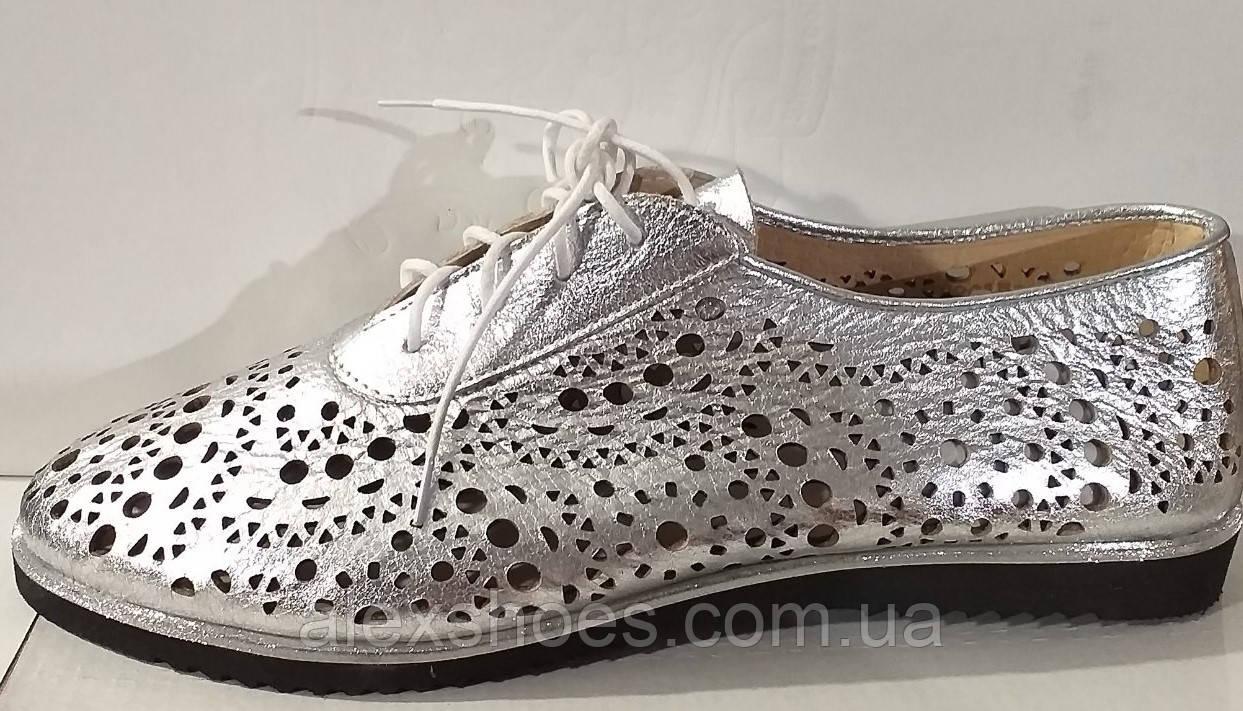 Туфли женские летние на плоской подошве из натуральной кожи от производителя модель АР490