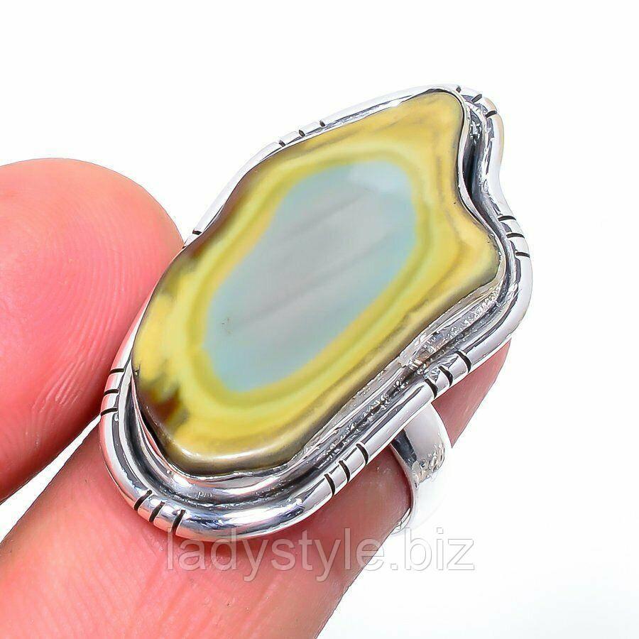 Серебряное кольцо с  императорской  яшмой  , размер 17
