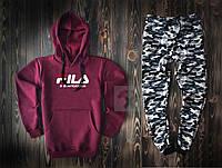 Спортивный костюм FILA бордового и камуфляжного цвета (люкс копия)