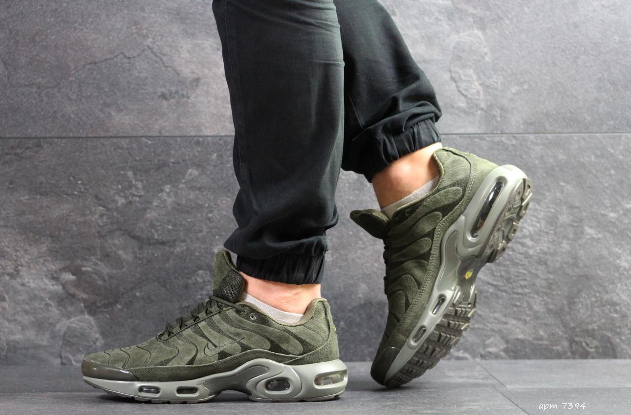 Кроссовки мужские Nike air max Tn,замшевые,темно зеленые