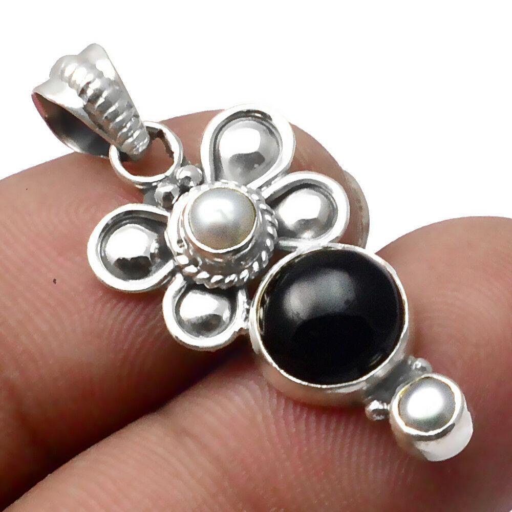 Оникс черный, серебро 925, кулон, 423ПО
