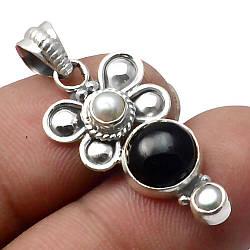 Онікс чорний, срібло 925, кулон, 423ПО
