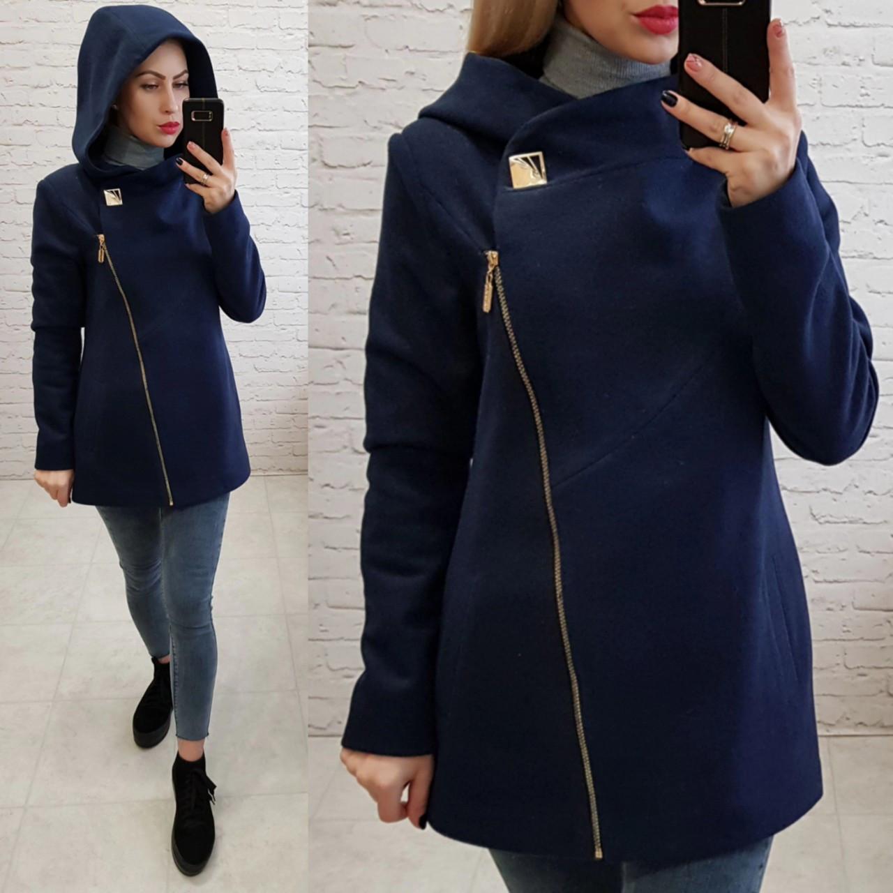 Пальто кашемировое с капюшоном, модель 156, цвет - темно синий