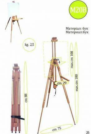 Мольберт-тренога № М20В (h мольб. 180см, max h полотна 108см) бук, фото 2