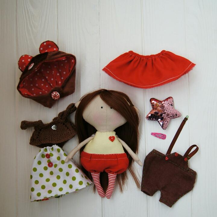 Игровая текстильная кукла, лесная феечка-медвежонок Hand Made