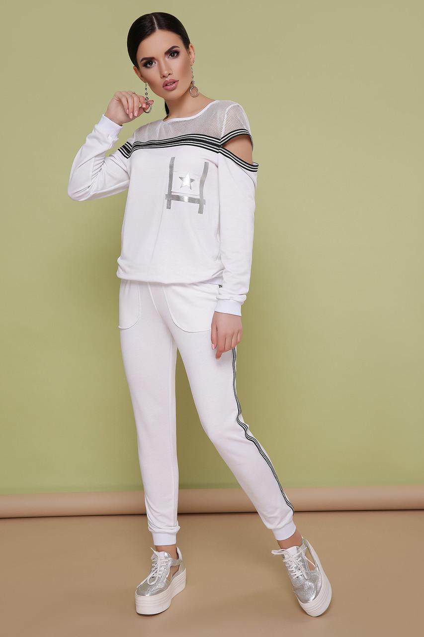 Женский спортивный костюм белый прогулочный