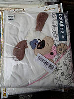 Детское полотенце с капюшоном уголком и рукавичкой для купания Собачка