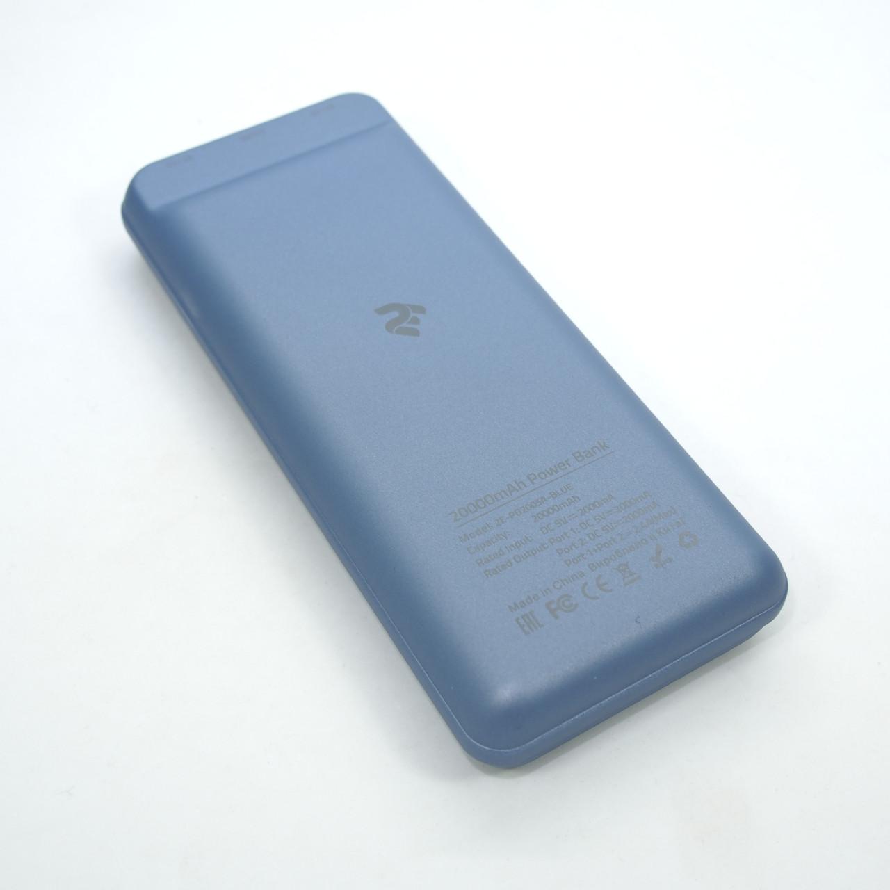 Портативные батареи 2E 20000 blue USB кабель до 500 раз