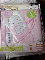 Детское полотенце с капюшоном уголком и рукавичкой для купания Слон