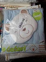 Детское полотенце с капюшоном уголком и рукавичкой для купания Мишка
