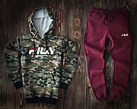 Спортивный костюм FILA камуфляжного и бордового цвета (люкс копия)