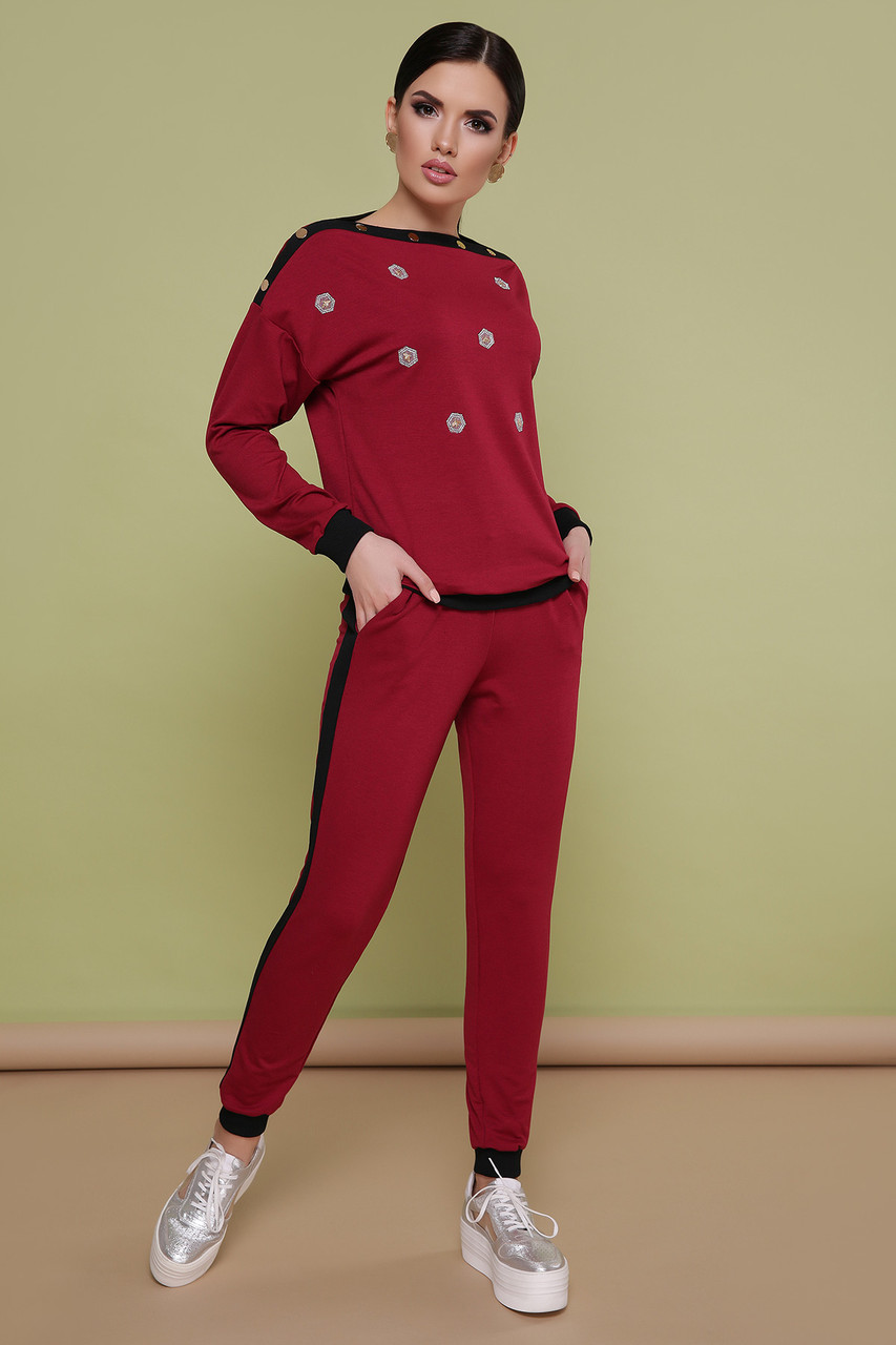 Женский спортивный костюм бордовый прогулочный