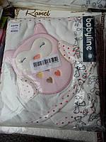 Детское полотенце с капюшоном уголком и рукавичкой для купания Сова