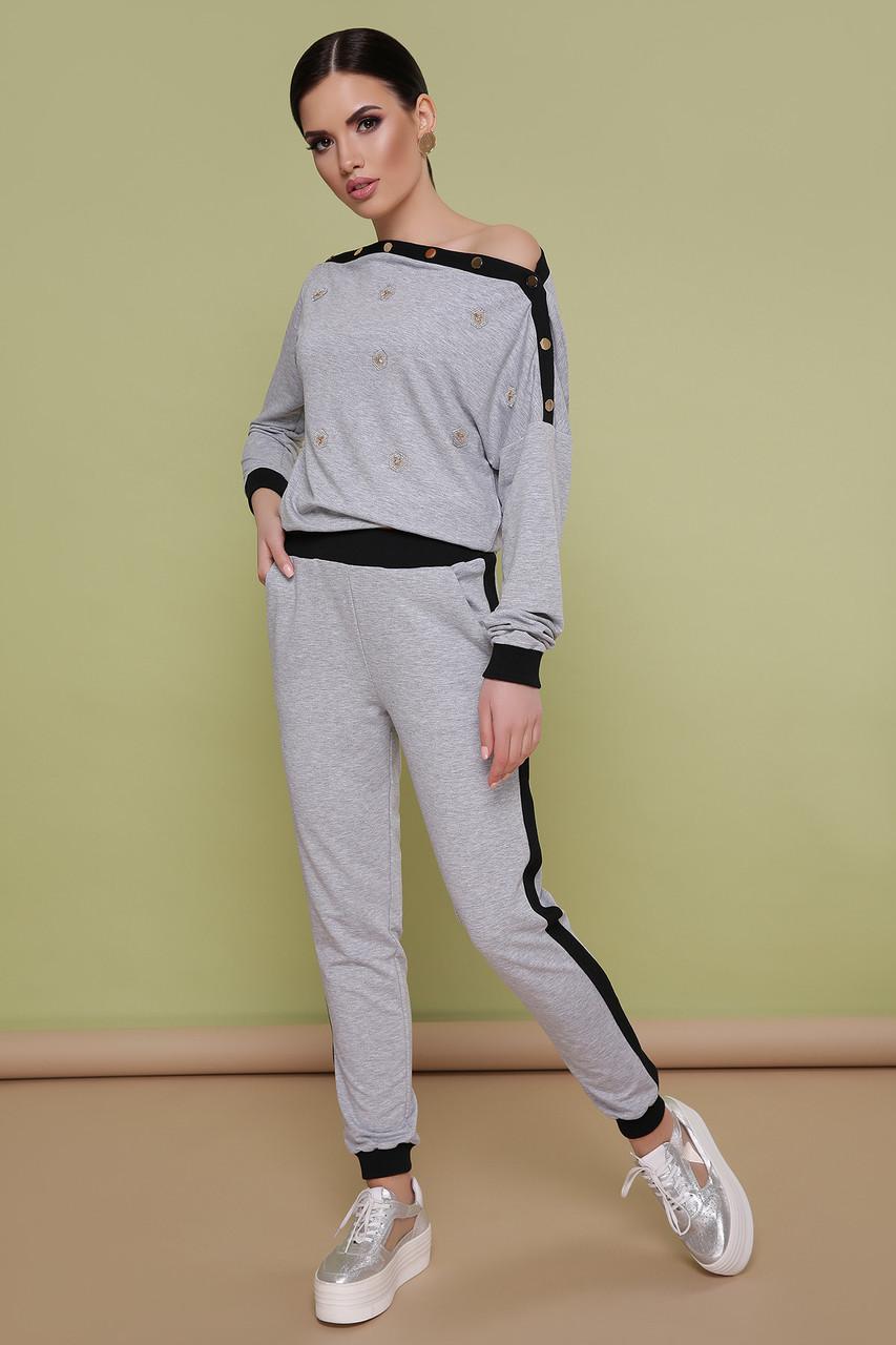 Женский спортивный костюм серый прогулочный