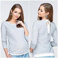 Джемпер для беременных и кормления LERIN BL-19.022, из трикотажа с люрексом, серый., фото 1