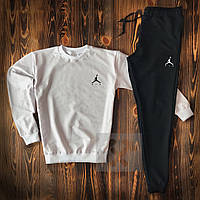 Спортивный костюм Jordan 23 белый и черный с черным и белым лого (люкс копия)