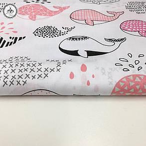 """Польская хлопковая ткань """"киты розовые и черные на белом"""", фото 2"""