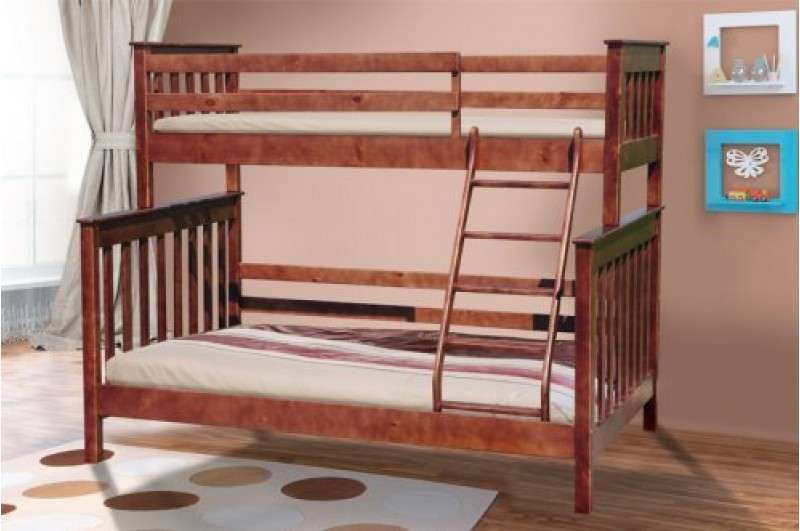 Семейная двухъярусная кровать Скандинавия-Уют 200х140/90 см, деревянная