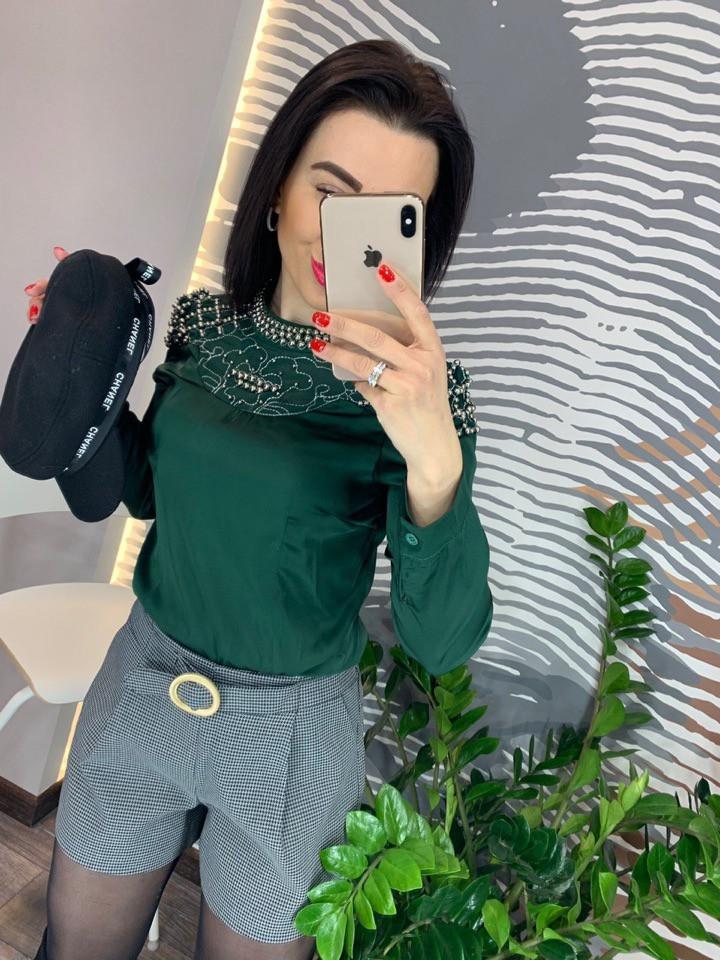 Блуза женская шелковая со бусинами